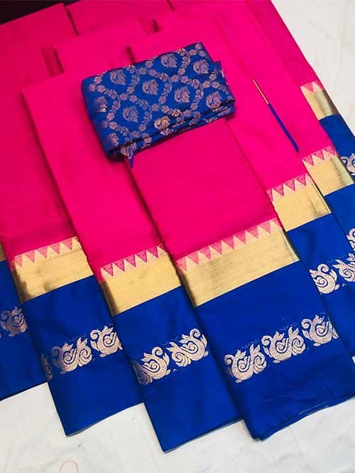 Pink Colored Cotton Silk Saree with Extra Blouse - Priya