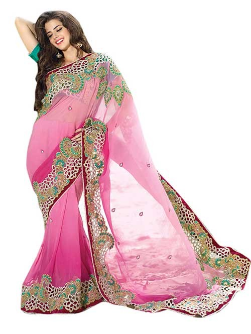 Pink Colored Designer Georgette Saree