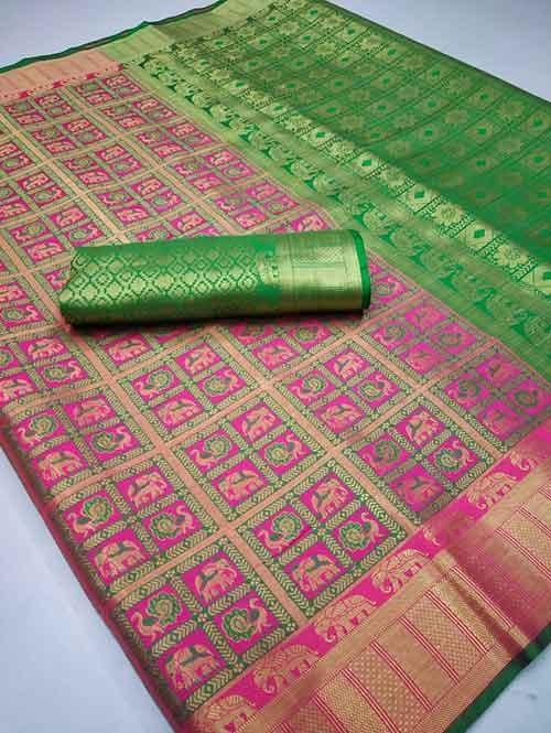 Pink Colored Designer Soft Banarasi Silk Jacquard Weaving - banarasi silk saree online