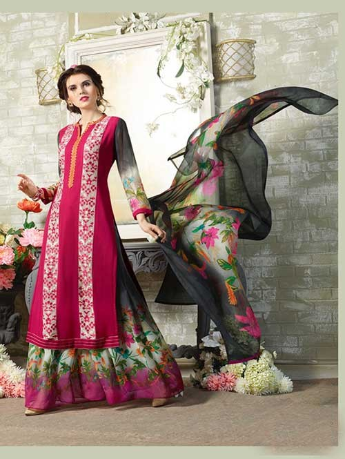 Pink Colored Designer Suit With Beautiful Plazzo.