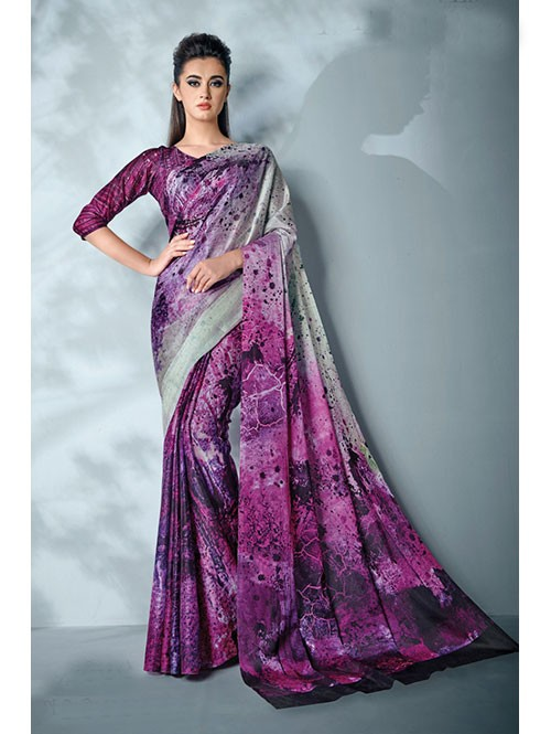 Pink Colored Digital Printed Cotton Bladed Saree