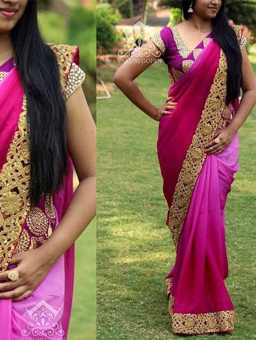 Pink Colored Embroidered Georgette Saree