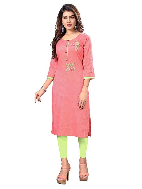 Pink Colored Embroidered Straight Cotton Kurti Online