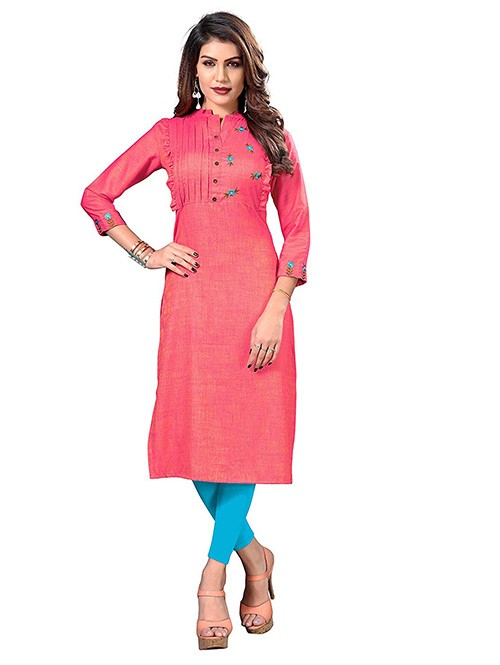 Pink Colored Embroidered Straight Rayon Silk Kurti Online