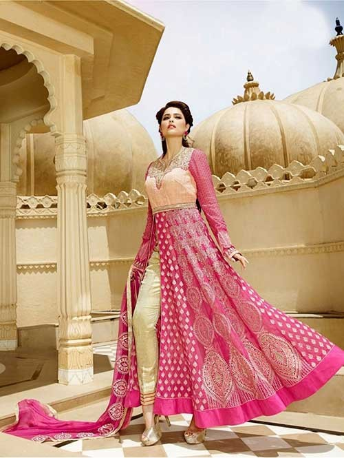 Pink Colored Faux Georgette Salwar Suit