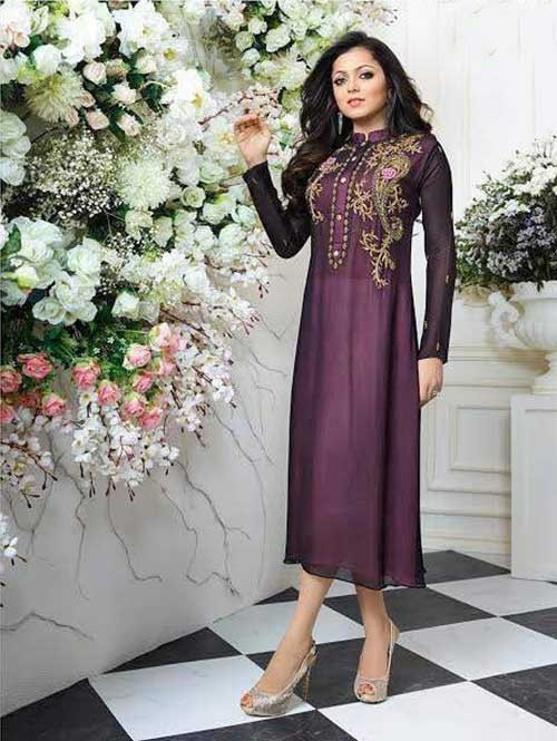 Pink Colored Georgette Embroidered Kurti