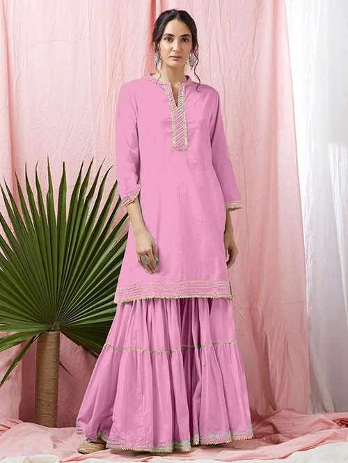 Pink Colored Glorious Rayon Sharara Pant and Kurta With Gotta Patti - Eid Special