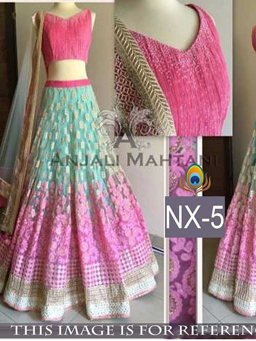 Pink Colored Gorgeous Net Lehenga With Fancy Banarasi Choli.