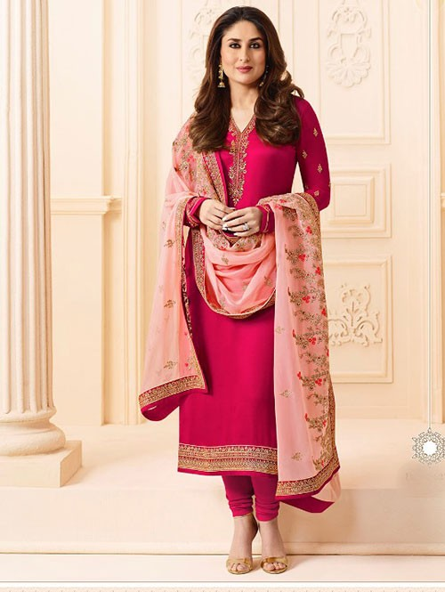 Pink Colored Heavy Embroidered Georgette Salwar Suit