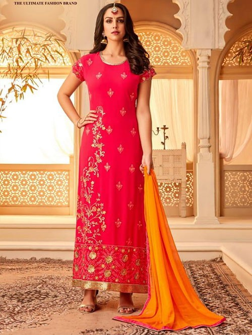 Pink Colored Heavy Embroidered Original Georgette Salwar Suit Material