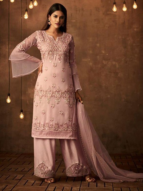 Pink Colored Heavy Embroidered Original Palazzo Suit Material