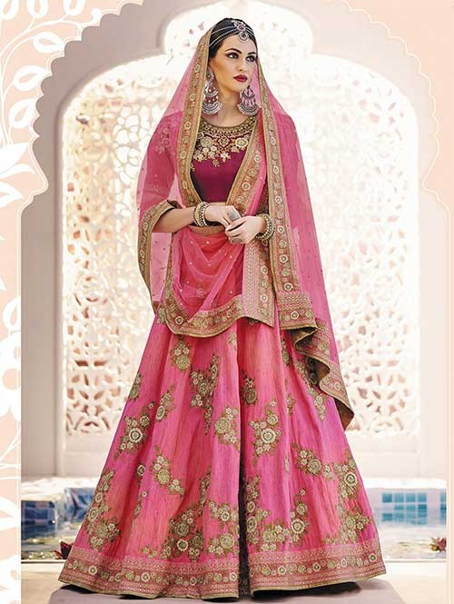 Pink Colored Heavy Embroidered Phantom Lehenga