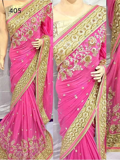 Pink Colored Heavy Embroidered Pure Georgette Saree