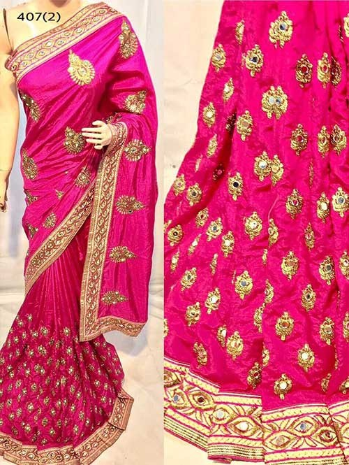Pink Colored Heavy Embroidered Pure silk Saree