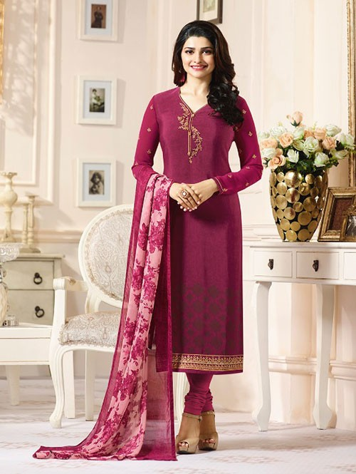 Pink Colored Heavy Embroidered Royal Crepe Salwar Suit
