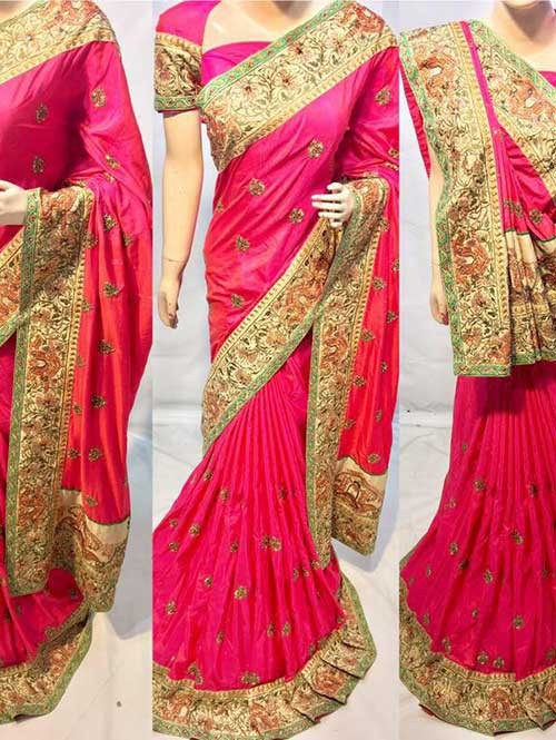 Pink Colored Heavy Embroidered Silk Indian Traditional Wear Saree