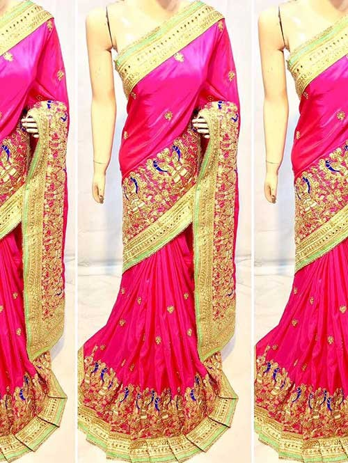 Pink Colored Heavy Embroidered Soft Silk Saree