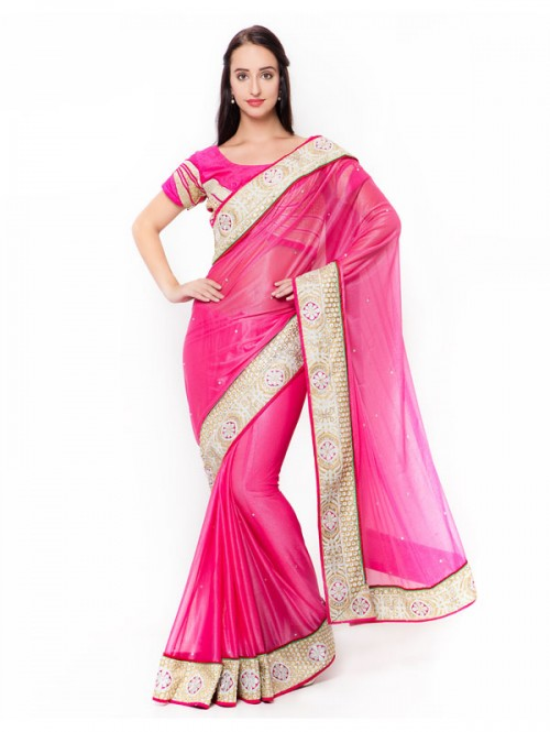 Pink Colored Lycra Lace Worked Saree with Blouse