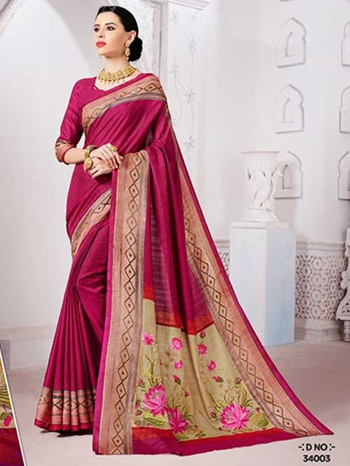 Pink Colored Manipuri Silk Saree with Beautiful Embroidered on Pallu