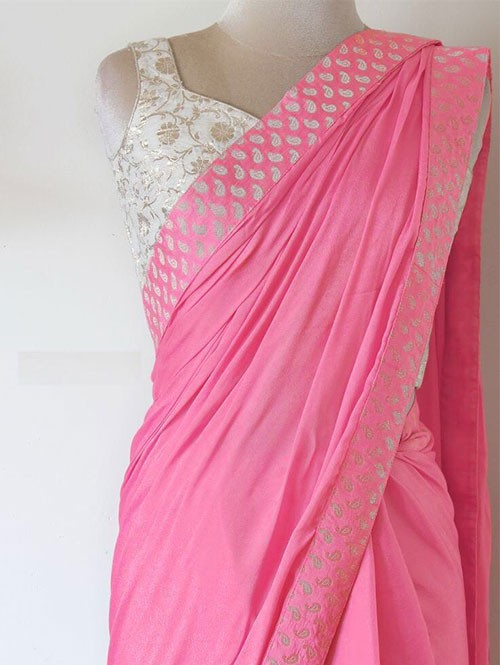 Pink Colored Paper Silk Saree Which Has Beautiful Border