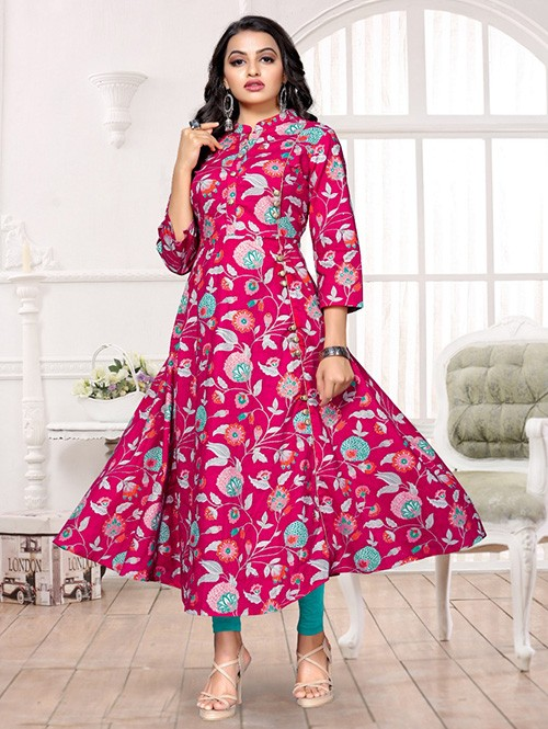 Pink Colored Printed A-Line Cotton Kurti Online