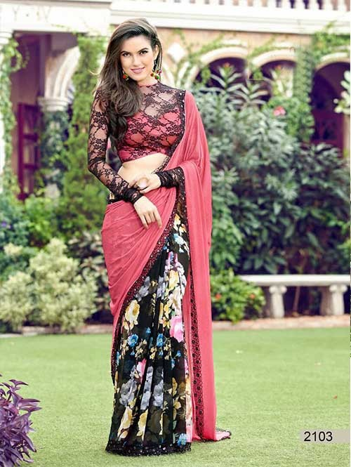 Pink Colored chiffon and Faux Georgette Printed Saree With Beautiful Blouse