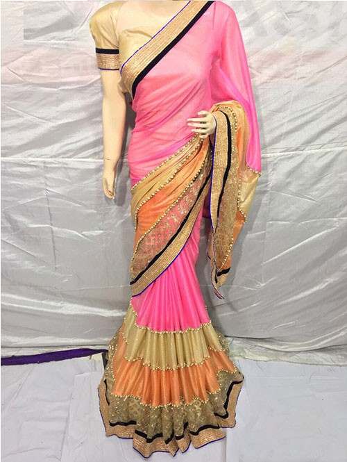 Pink Colored Pure Lycra Saree Has Beautiful Embroidered Border.