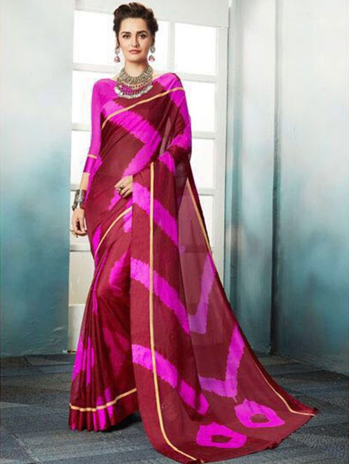 Pink Colored Shibori Printed Kota Silk Saree