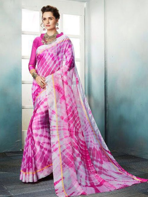 Pink Colored Shibori Printed Kota Silk Saree