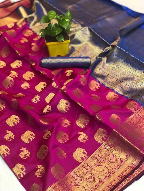 Pink Colored Soft Banarasi Silk Animal Butta Weaving Saree Online
