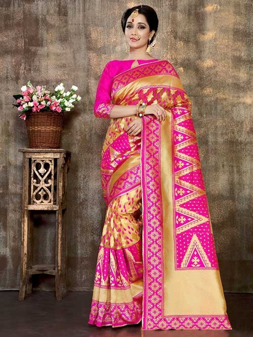 Pink Colored Soft Banarasi Silk Weaving Saree Online With Attractive Pallu