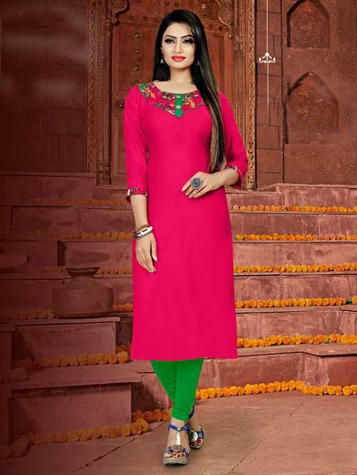 Pink Colored Straight Rayon Print Kurti Online