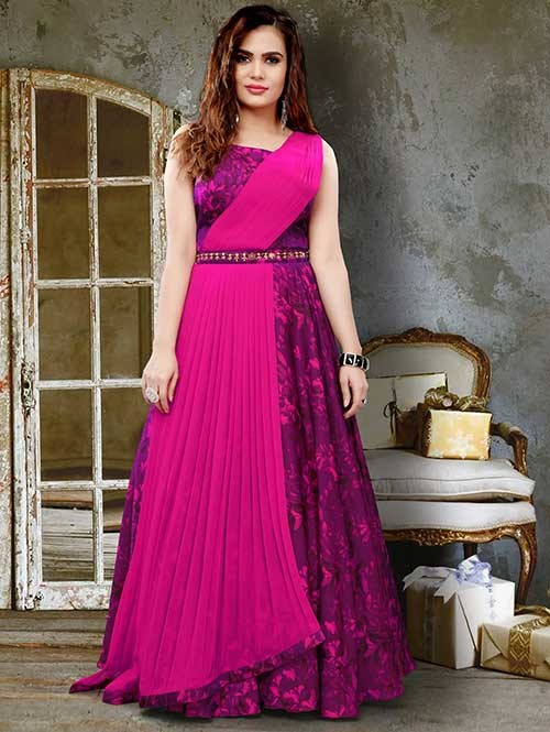 f882800fa71 Pink Colored Two Tone Slub Satin Silk Digital Printed Gown with Beautiful  Georgette Dupatta | Shop Now