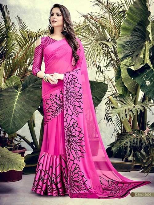 Pink Colored weightless Satin Patta Printed Saree