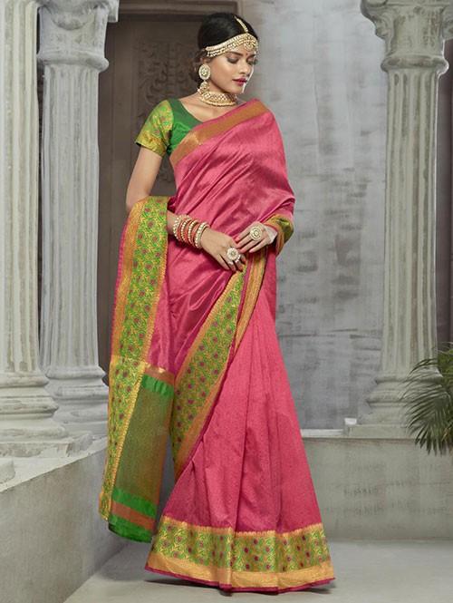 Pink Colored Zari Chex Cotton Silk Fancy Saree