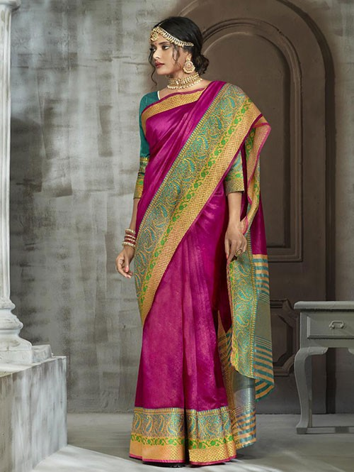 Pink Colored Zari Chex Cotton Silk Fancy Saree