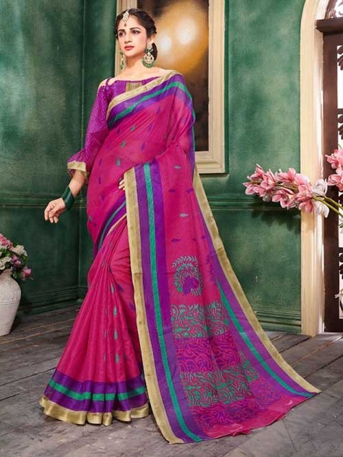 Pink Colored Zari Chex Cotton Silk Saree - Vinamrta