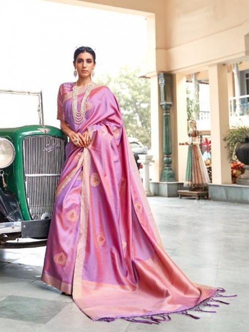 Purple Soft Banarasi Silk Zari Base saree