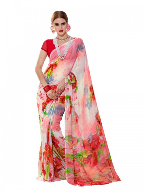 Pink Color floral Printed Beautiful weightless saree with Blouse 22020