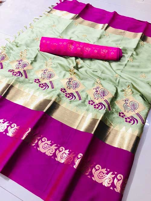 Pista Color Beautiful Embroidered Cotton Silk Saree Have beautiful Weaving Border