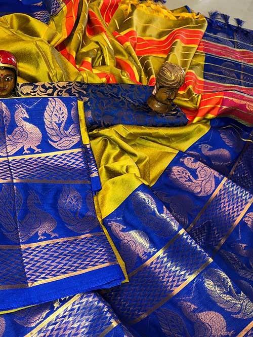 Pista Color Beautiful Weaving Cotton Silk Saree - Dollar