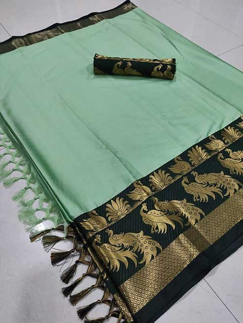 Pista Color Beautiful Weaving Cotton Silk Saree - Mahishmati
