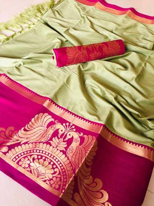 Pista Color Beautiful Weaving Cotton Silk Saree