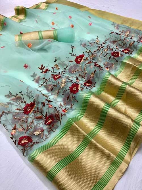 Pista Colored Beautiful Embroidered Branded Organza Silk Sarees