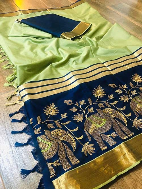 Pista Colored Beautiful Embroidered Cotton Silk Saree