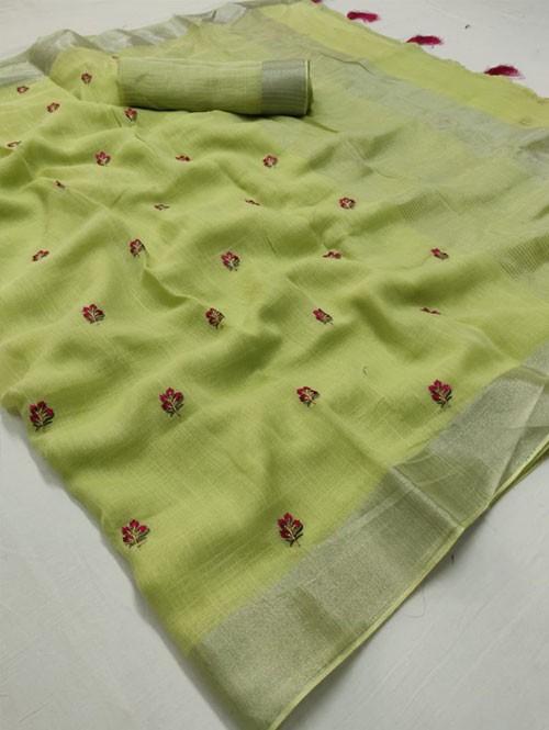 Pista Colored Beautiful Embroidered Linen Saree - Kashmiri