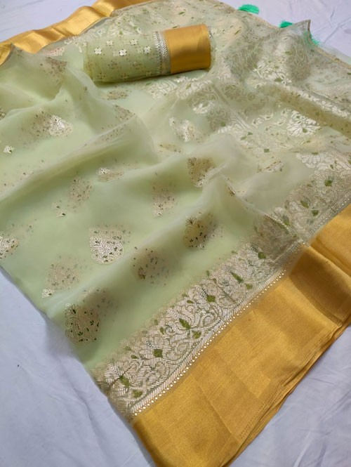 Pista Colored Beautiful Foil Printed Organza Saree - Palkhi