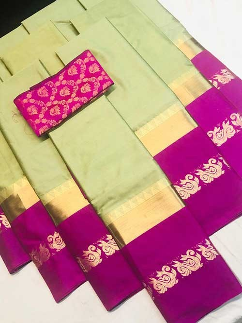Pista Colored Cotton Silk Saree with Extra Blouse - Priya