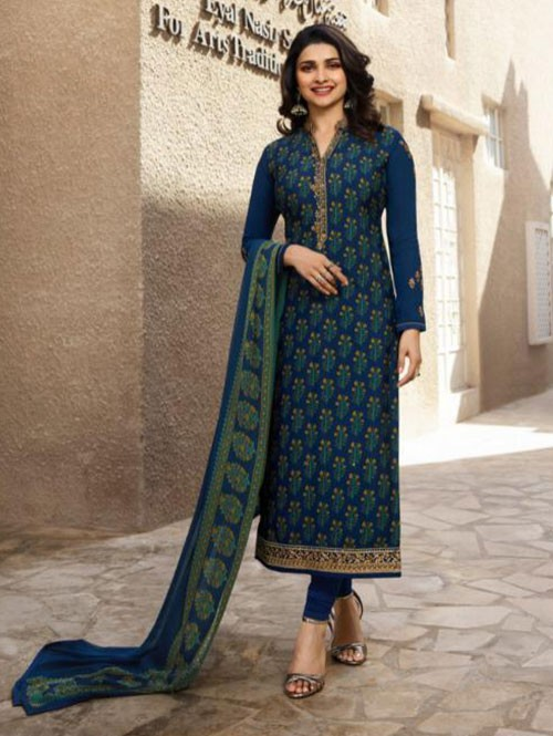 Prachi Desai in Blue Colored Crepe Straight Cut Printed Suit -Royal Crepe
