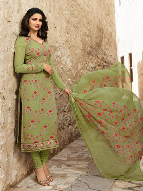 Prachi Desai in Green Colored Crepe Straight Cut Printed Suit -Royal Crepe